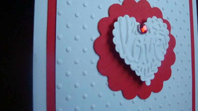 Close up of embossing and heart