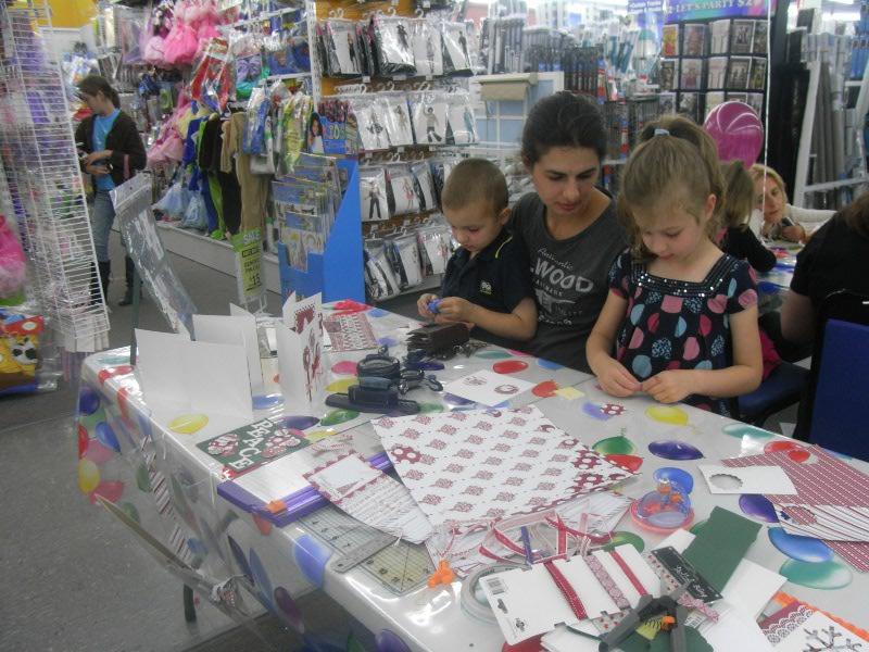 Mum and kids crafting