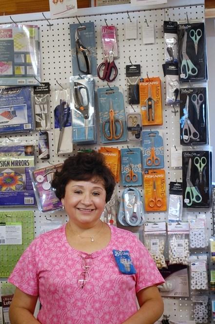 Betty in front of Fiskars Tools