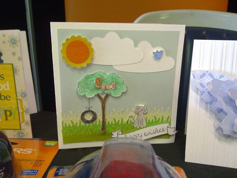 Card using grass border punch