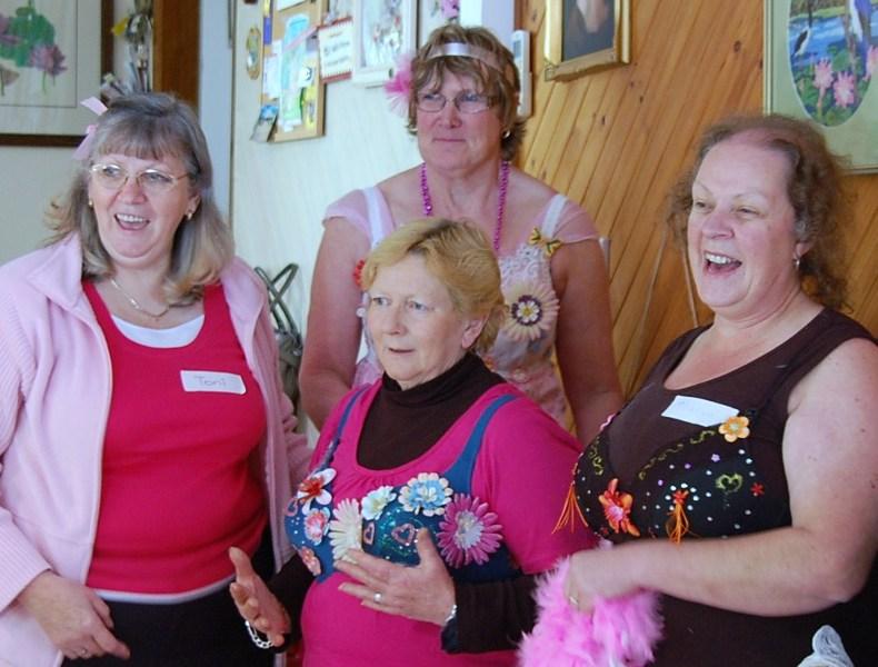 Bedazzled Bra winners - Toni,Kathy,Rosemary, Sharyn