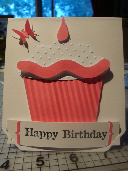 Birthday Card Pink-Butterfly Lever Punch/Bracket Lever - Lyn