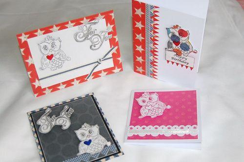 Cards x4 Owls by Lyn